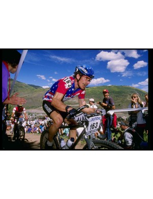 Ned Overend racing during the 1994 World Championships in Vail, Colorado.