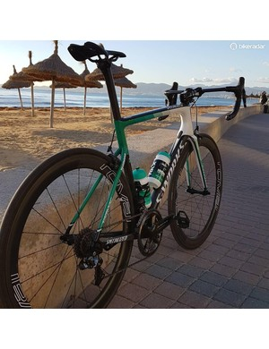 The 2018 Bora-Hansgrohe bikes feature various shades of green on the frames