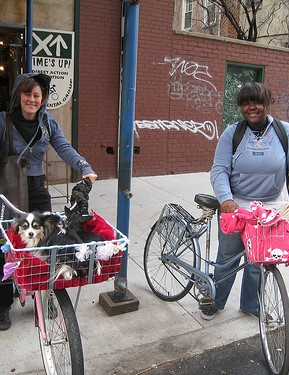 Two happy customers leaving the Time's Up! Pup your Ride Workshop.
