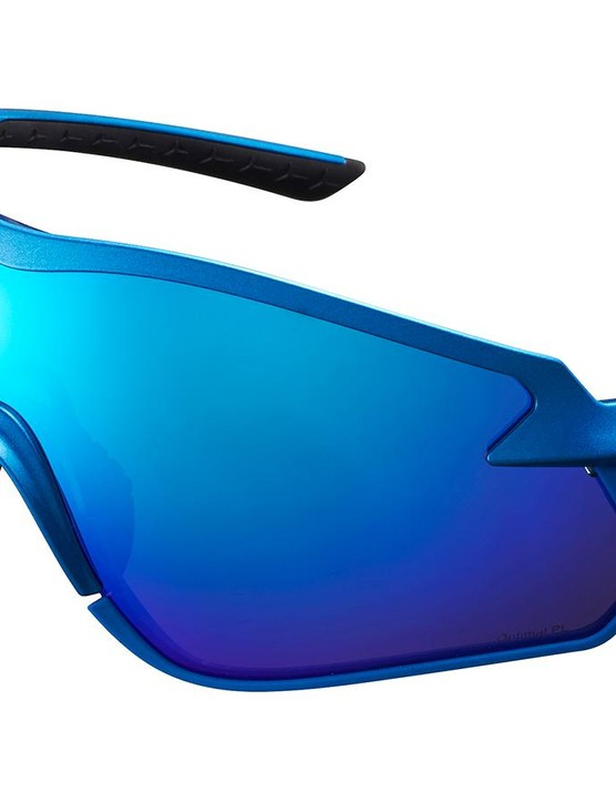 Shimano S-Phyre X in Metallic Blue with blue lenses