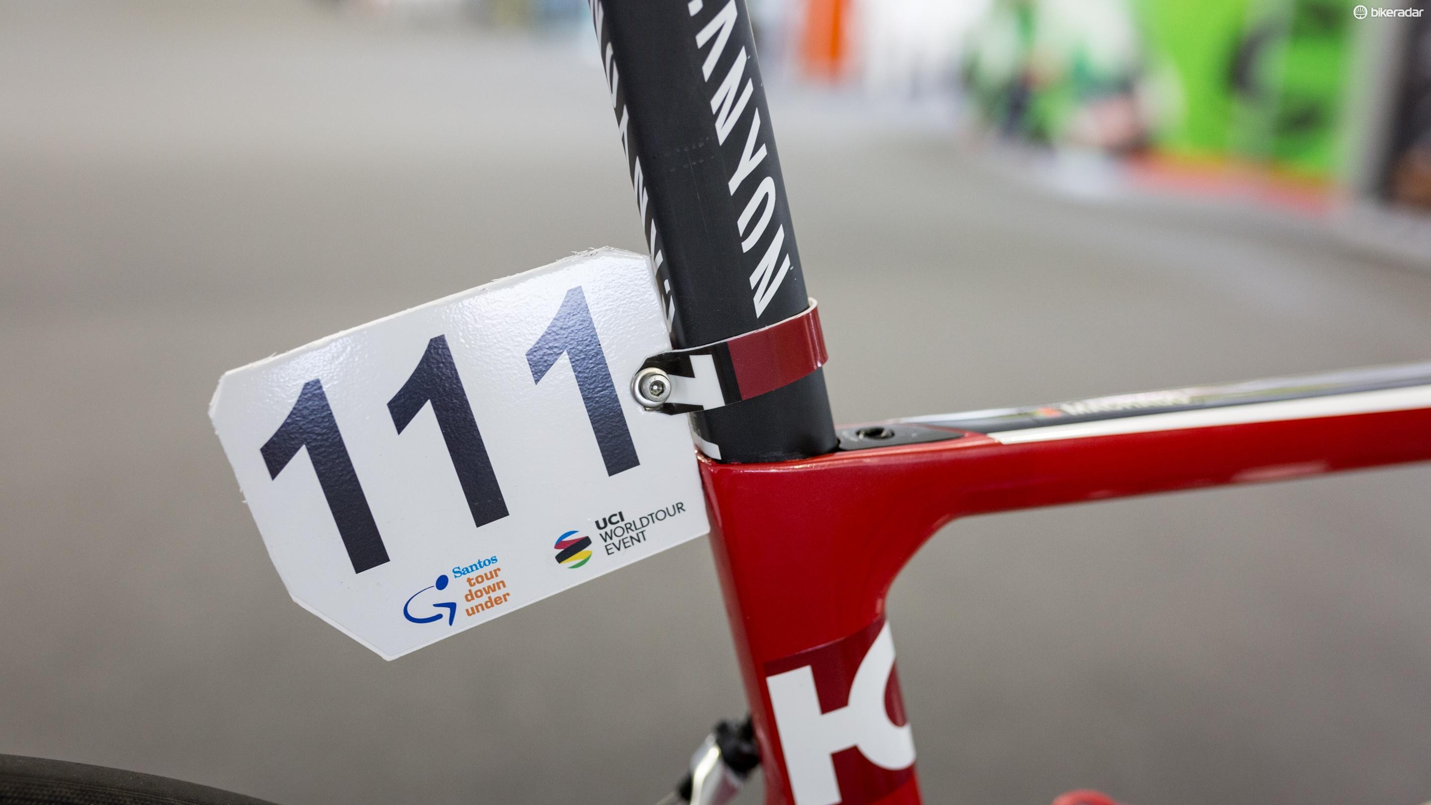 The Katusha-Alpecin mechanics repurposed a water bottle into a number holder