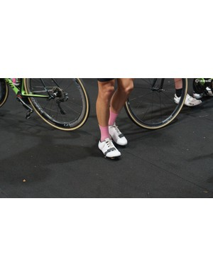 Lachlan Morton was spotted wearing some unreleased lace up road shoes from Rapha