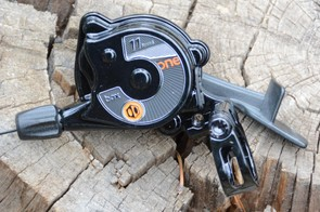 The shifter uses only one lever. Gear swaps happen by sweeping the paddle forward or pushing the end in