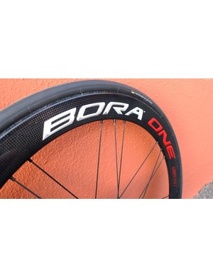 A Bora One 50 DB with 25mm tubular tyre fitted