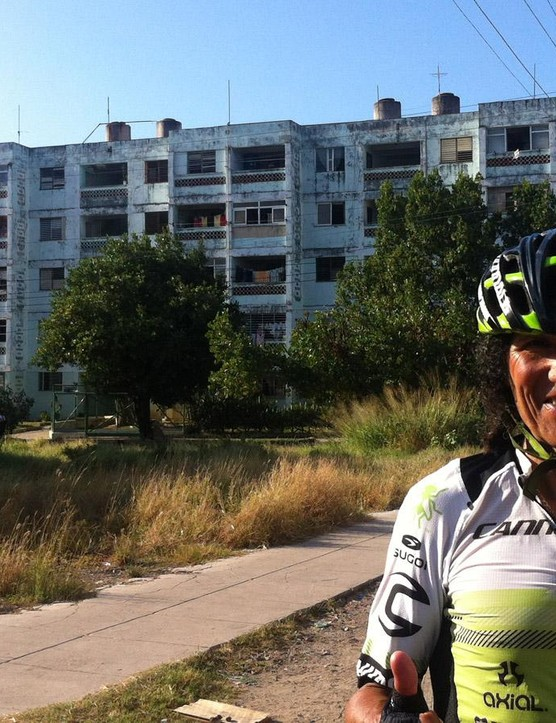 The prologue was cancelled due to Commander-in-Chief Castro's passing so a group of us took a bike tour of Havana. Here's Tinker Juarez in the middle of Old Havana