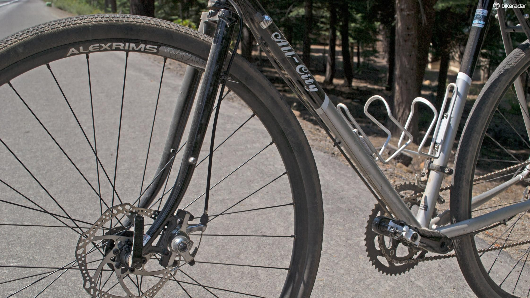 A steel fork and Hayes CX-Expert discs up the Space Horse's capabiility