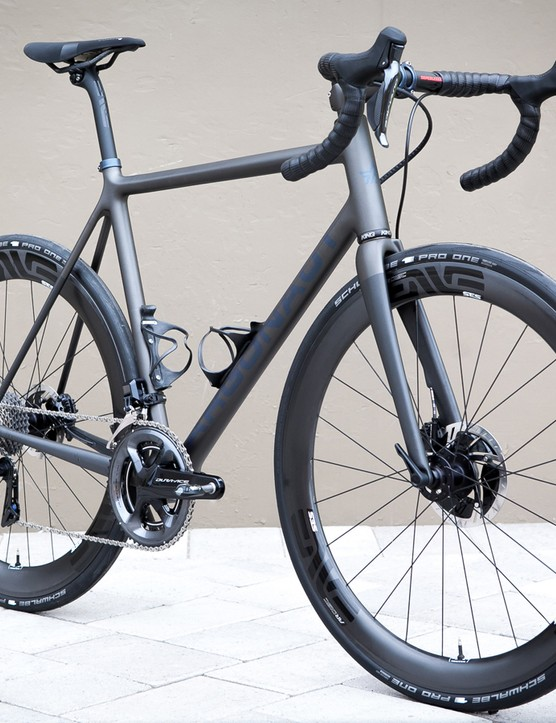 The bike is absolutely loaded with the pinnacle of components from Enve and Shimano