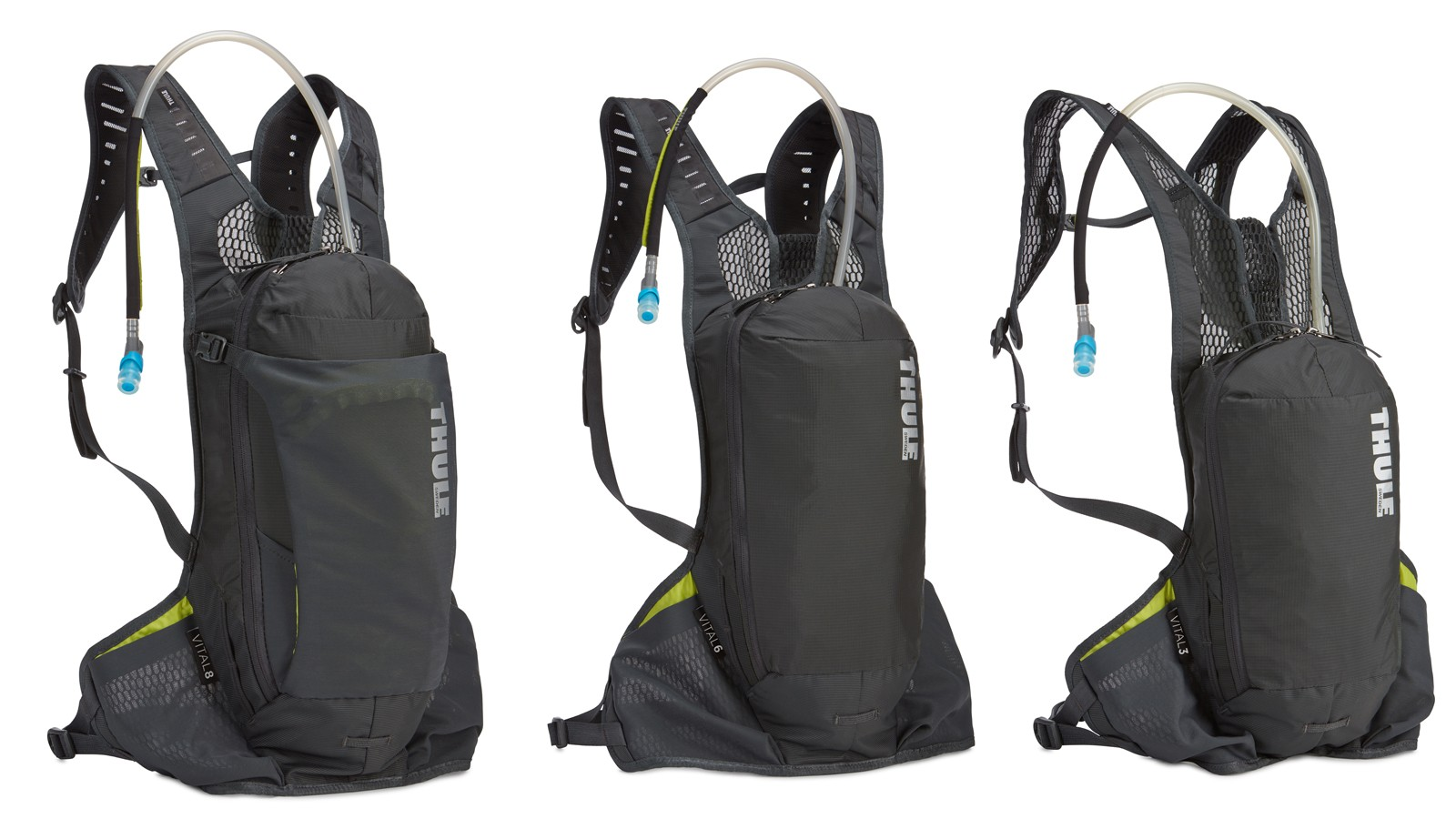 Three options of the Vital backpack will be available. From left: 8, 6, and 3 litre