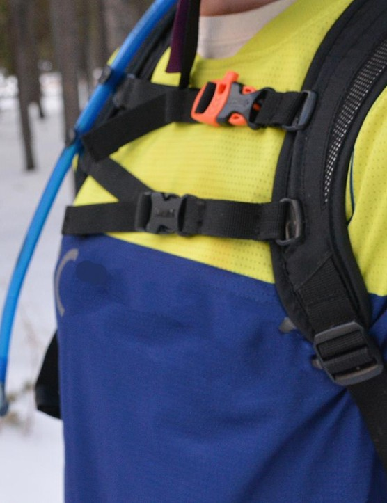 The dual sternum straps combine with a waist strap to help to keep the high-riding pack in place