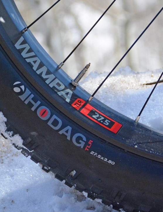 This fatty rolls on 27.5-inch wheels, instead of the standard fat bike 26ers