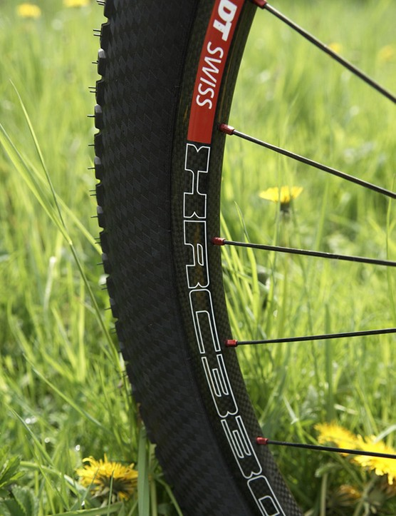 The DT Swiss XR330 hoops are full carbon and a centrepiece of the bike