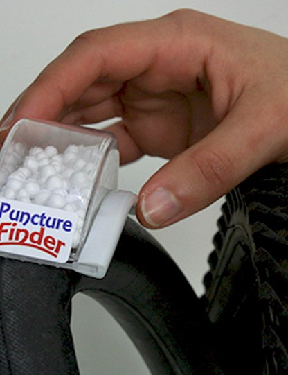 The Puncture Finder uses lightweight polystyrene beads to help you... well, find a puncture