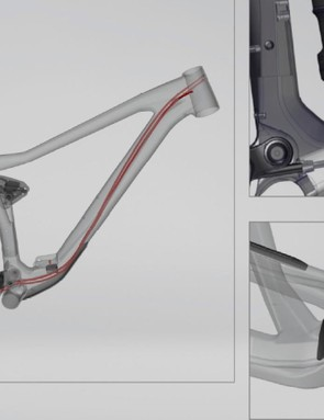 The cable routing is internal end-to-end via that enclosed lower link. A dropper post cable or a front derailleur cable can be run through the down tube too, but not both