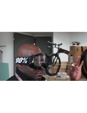 Nothing gets past our security guard Patrick. That's because he keeps his vision clear with snazzy roll-off lenses