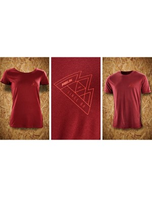The burgundy mountain logo comes in a men's and women's cut