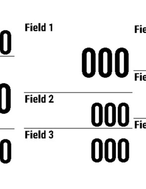 Each screen handles between one and 10 lines of data. You can also pick between different layouts for the same number of lines, such as the three options here for three data fields