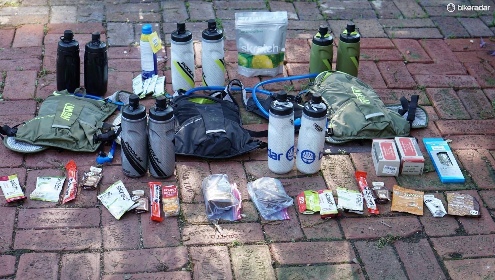 How the heck do you carry enough food and water for an all-day race? Well, you don't. Checkpoints at miles 52, 120 and 160 allowed riders to take on more supplies. I opted for bottles and CamelBak Chase vests... and still needed more