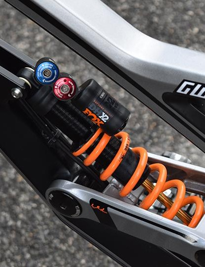 The rear shock uses a 375 lb/Inch spring and some custom valving