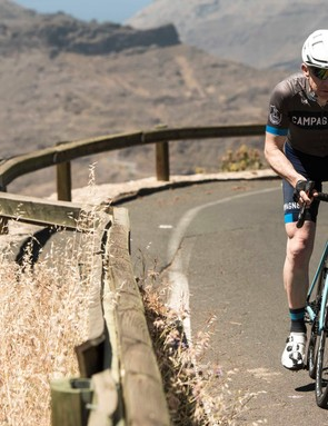 Climbing the mountains of Gran Canaria aboard a Super Record H11 DB equipped bike
