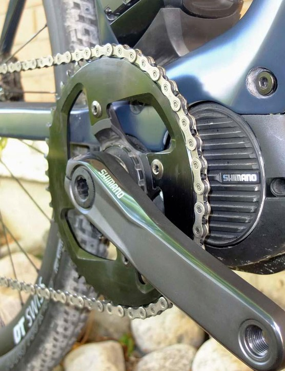 This model has a Shimano crank with BMC's own chain ring