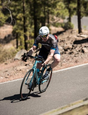 Testing the brakes' performance on the many miles of descent
