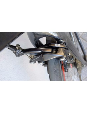The front and rear-specific direct mount brakes include a built-in brace to prevent the stays or fork splaying