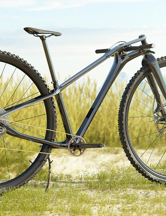 This 39in mountain bike is just an artist's rendering. (Nice touch adding the stick to prop it up)