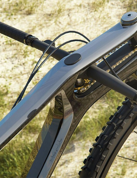 The handlebar is positioned in the main triangle and controls the fork by a pair of cogs linked with a chain