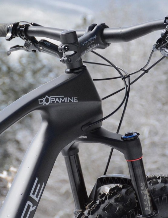 The Dopamine is fronted by a 120mm RockShox Bluto RL fork
