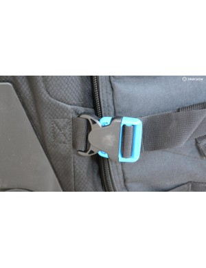 Two large buckles add an extra bit of security should a zipper come undone