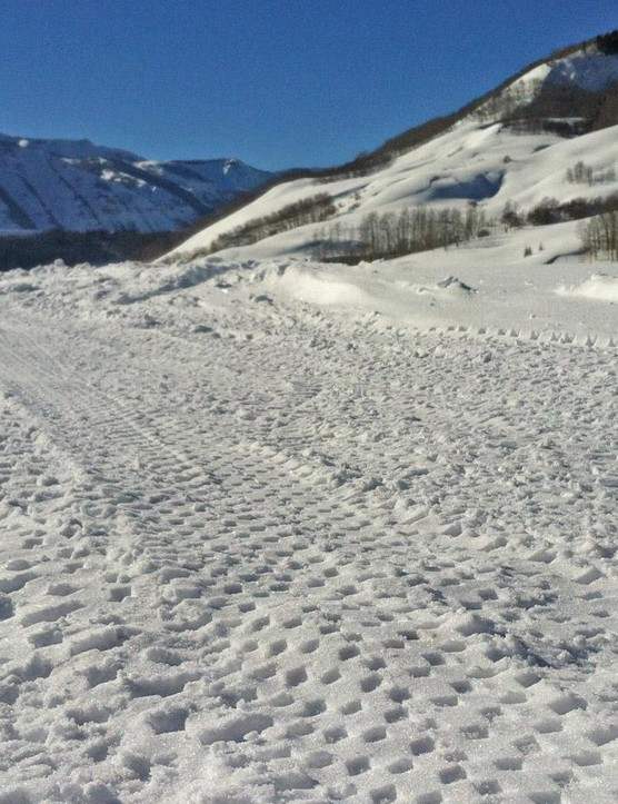 These fat bike tracks in the snow don't point to any clear direction of fat bikes in general