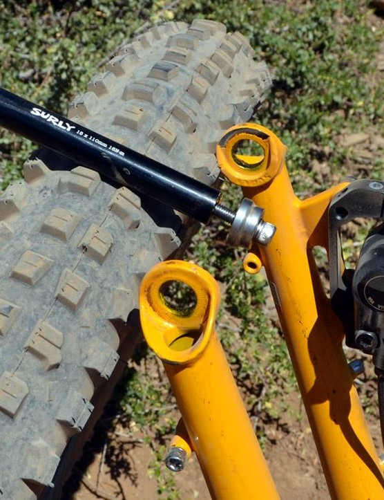 The front axle works with 110mm Boost spacing, but more importantly look at the tread on that Dirt Wizard