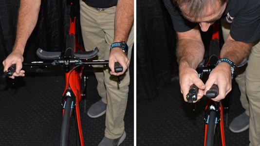 From base bar to aero bar with a simple squeeze of two levers
