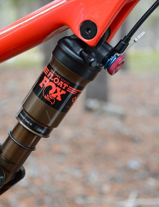 The Fox Float DPS Factory features a remote to lockout the bike's 100mm of rear squish