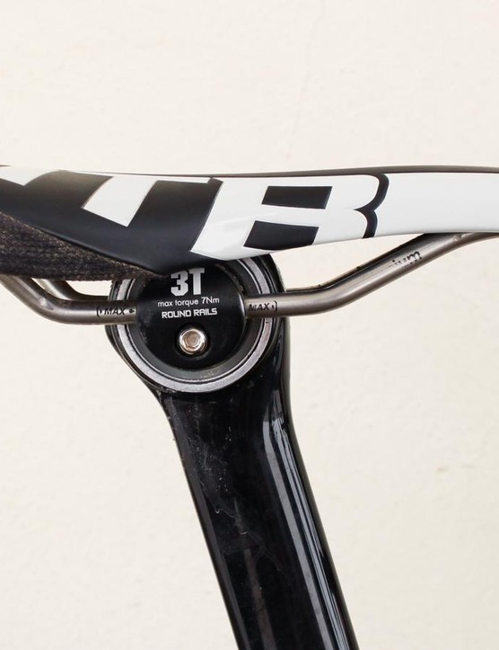 The 3T Charlie seatpost has a vibration-damping elastomer ring at the head