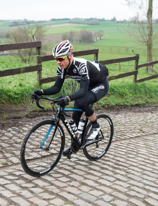 I rode four bikes on the Flanders cobbled bergs, like the Paterberg here, and the Domane SLR was clearly the smoothest