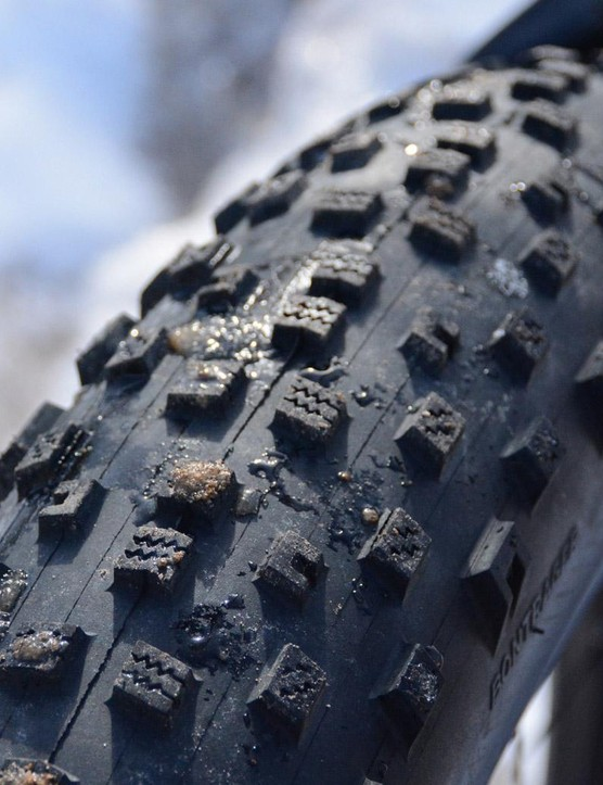 Bontrager's Hodag 27.5x3.8 tires have a big footprint bolstered with small, fast-rolling knobs