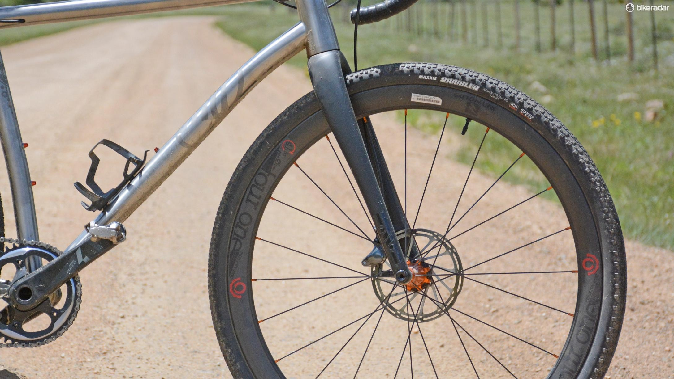 An Enve 'cross fork was fitted. A Lauf minimal suspension fork is an option