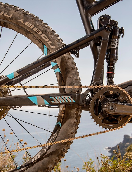 The Plus tyre Jam2 boasts (probably) the shortest chainstay currently seen on a full-sus e-MTB…