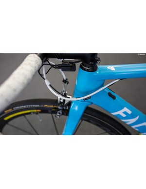 The AG2R mechanics opt for white electrical tape to take care of cables on their Factor bikes
