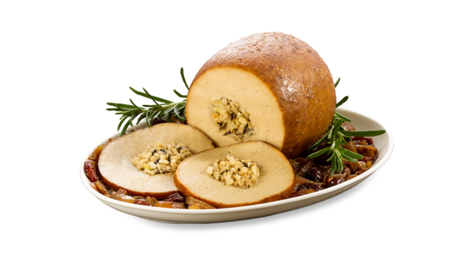 The Tofurky roast is probably the closest you can get to an off-the-shelf meat-free turkey with stuffing