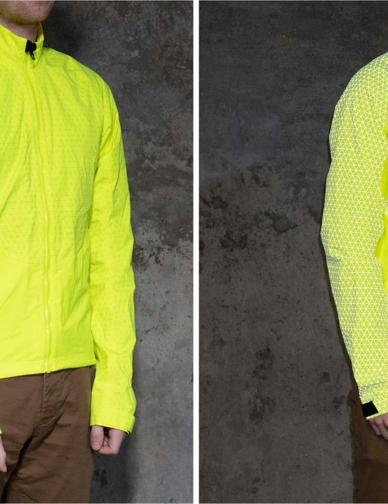 The Specialized Deflect Reflect H2O jacket has impressive visibility and a rather fetching geometric pattern