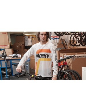 This old-school MTB /BMX jersey from Hackney GT is expertly modelled by our workshop manager, Jonny