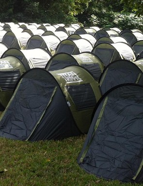Camp looked like this, rows and rows of tents