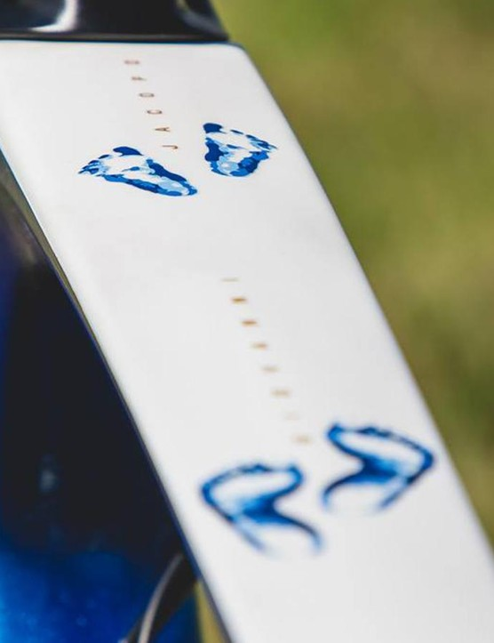 Matteo Trentin has his sons' footprints and names adorning the top tube of the frameset