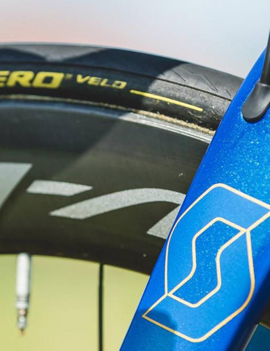 Gold detailing over the blue metallic paint pays homage to Trentin's gold medal at the European championships road race