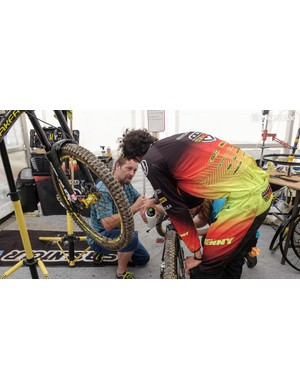 Suspension wizard Chris Porter was on hand to spread his wisdom to the Mondraker Factory Racing team
