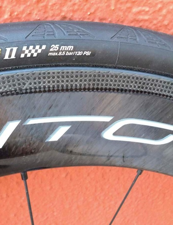 Both new Boras have Campagnolo's new textured AC3 braking track