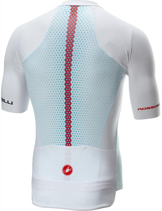The white and dark grey colourways of the Aero Race 6.0 jersey have red strips running up the centre of the back