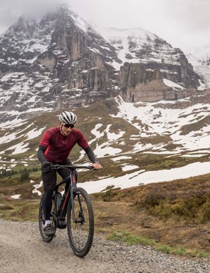 BMC's head of R&D, Stefan Christ, on one of the lengthy and fun gravel sections of the climb